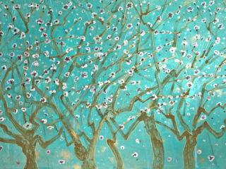 100x150cm Mes neurones en mai. Encres, pigments, liant, huile sur toile de lin. 2017-513