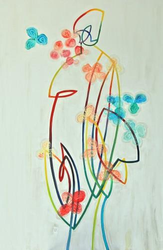 351 100x150cm Psychoanalysis of a kimono. Acrylic and oil. 2013-351