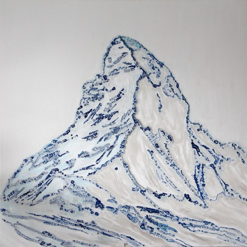 120x120cm Matterhorn in Winter. Ink, acrylic, oil. 2017-485