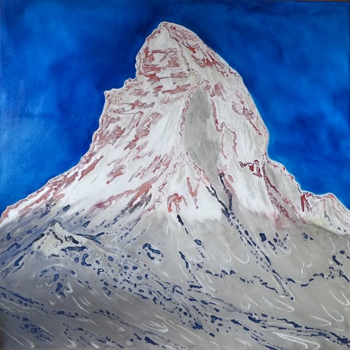 120x120cm Morgen in Zermatt. Ink, acrylic and oil on canvas