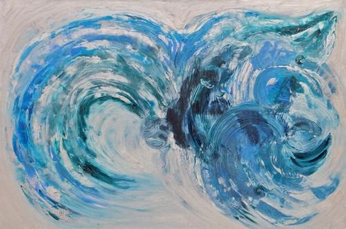 120x150cm L'idée d'une mer (IV). Acrylique et huile sur toile. 2015-457