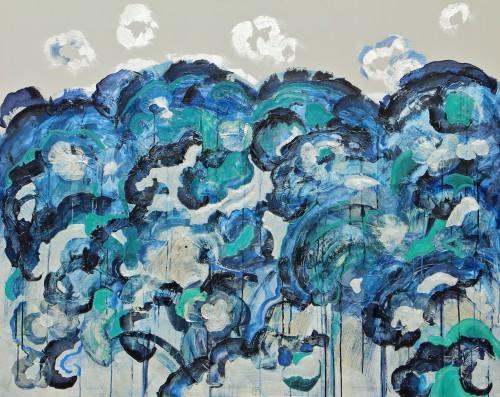 120x150cm L'idée d'une mer(II). Collage écriture japonaise, encre, acrylique, huile sur toile. 2015-455