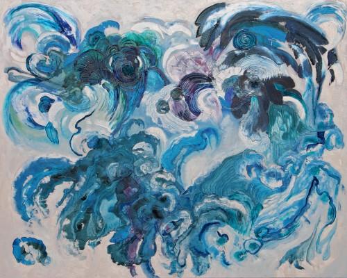120x150cm L'idée d'unemer (III). Acrylique, huile sur toile. 2015-456