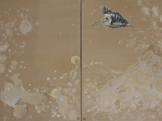 120x80cm (2 pannels) Pelican and waves. Acrylic and oil. 2014-417