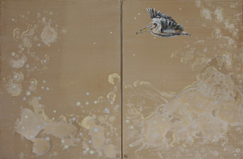 120x80cm (2 pannels)Pelican and waves. Acrylic and oil. 2014-417