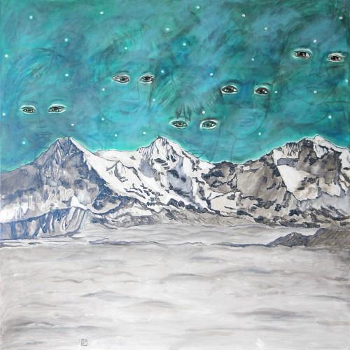 472 120x120cm Eiger, Mönch und Jungfrau. Acrylique sur toile. 2016-472