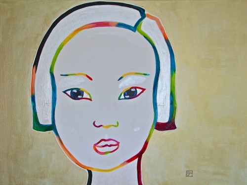 60x80cm Little girl in Suzhou.2014-427