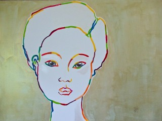 60x80cm Maiko with grey eyes. Acrylic on canvas. 2014-425