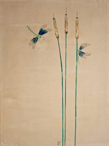 444 60x80cm Matin. Hommage à Watanabe Seitei 1851-1918. Pigments, gofun, acrylique, huile sur toile. 2015-444